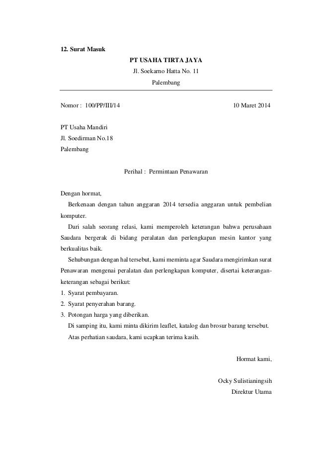 10. Contoh Surat Keluar Barang