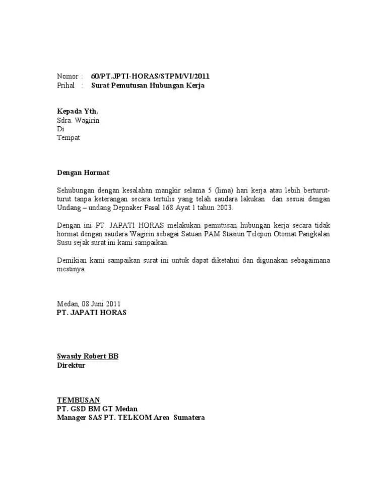 10. Contoh Surat Pemberhentian Kerja Oleh Majikan