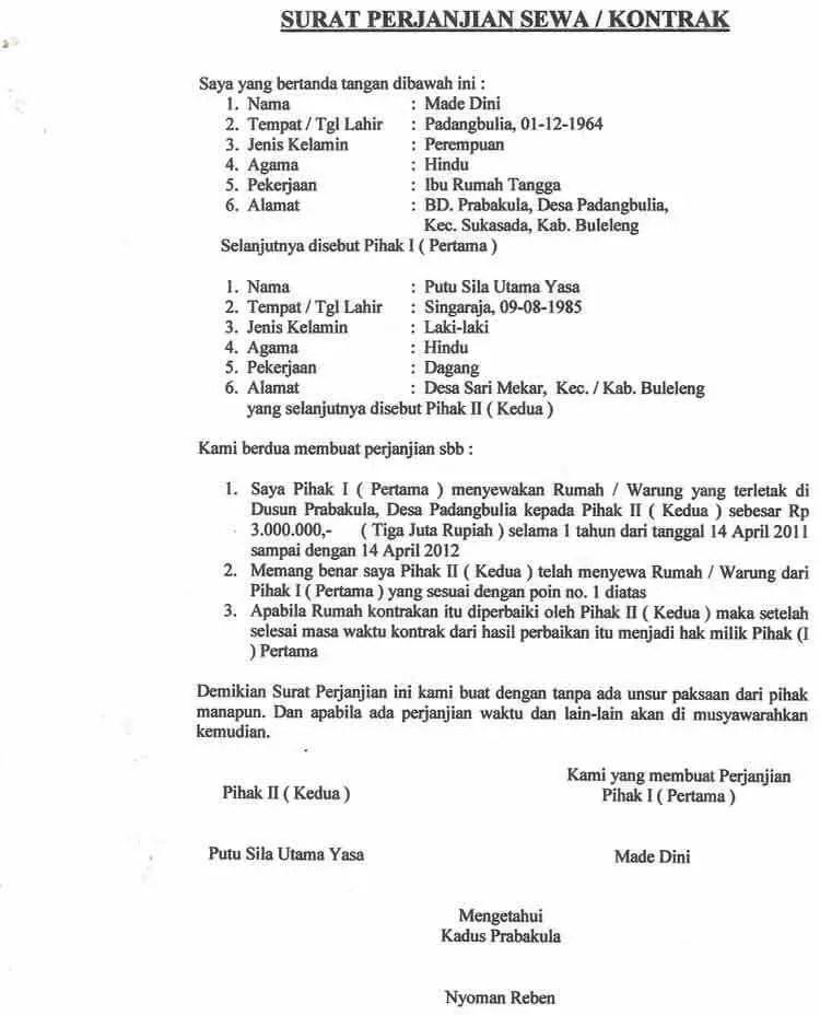 11. Contoh Surat Perjanjian Sewa Rumah