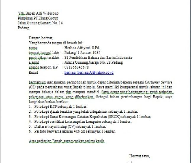 12. Contoh Surat Lamaran Kerja Yang Benar