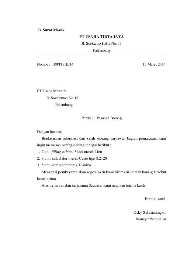 12. Contoh Surat Masuk Kantor