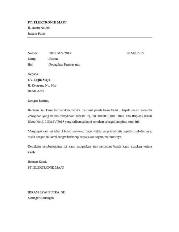 12. Contoh Surat Peringatan Pembayaran