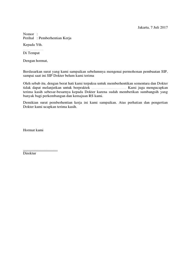 2. Contoh Surat Pemberhentian Kerja Dengan Hormat