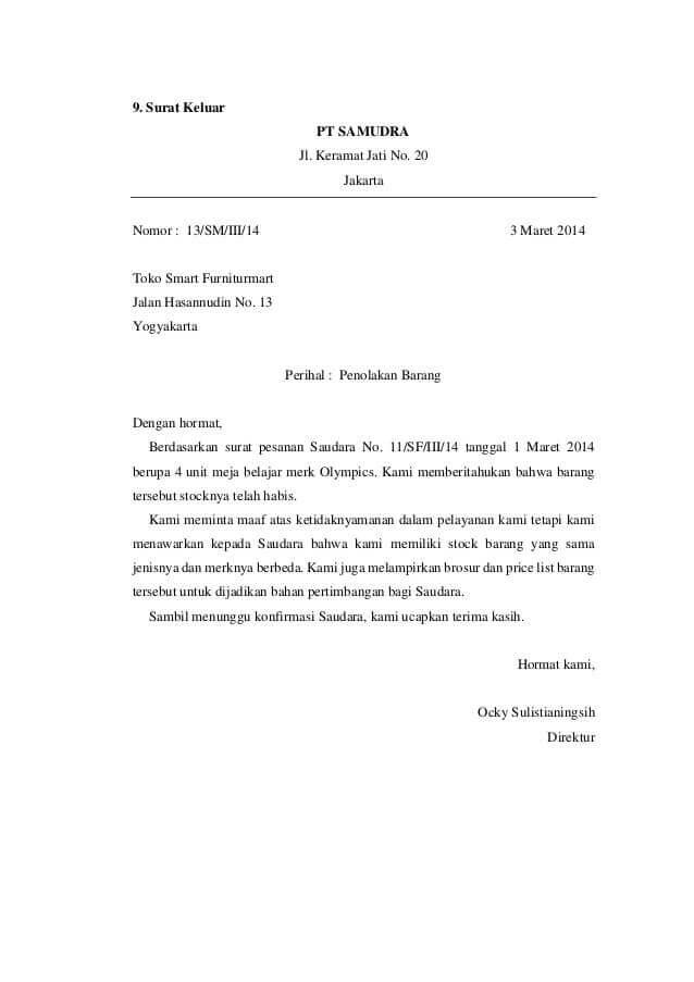 3. Contoh Surat Keluar Resmi