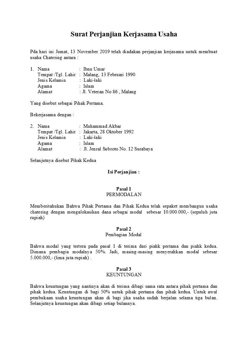 3. Contoh Surat Perjanjian Kerjasama Sederhana