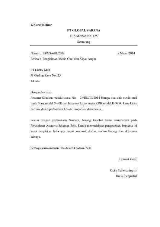 4. Contoh Surat Masuk Resmi