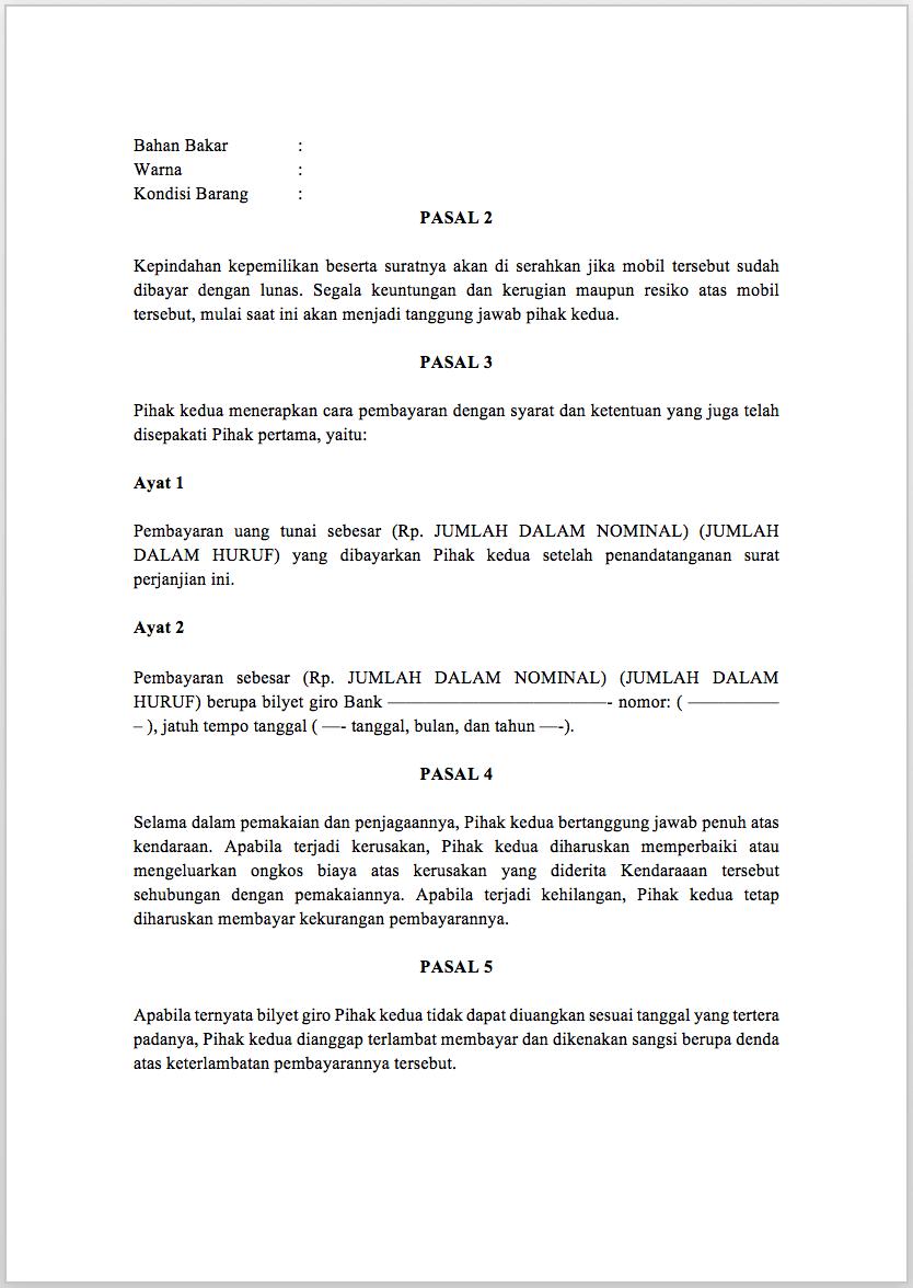 4. Contoh Surat Perjanjian Jual Beli Barang