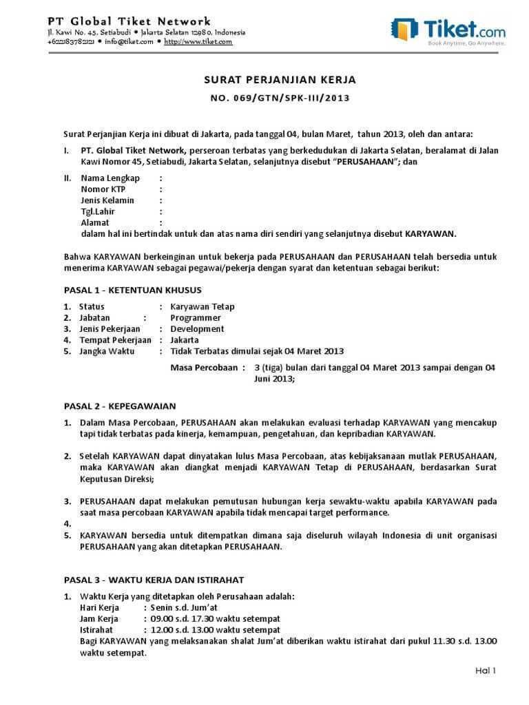 5. Contoh Surat Perjanjian Kerja