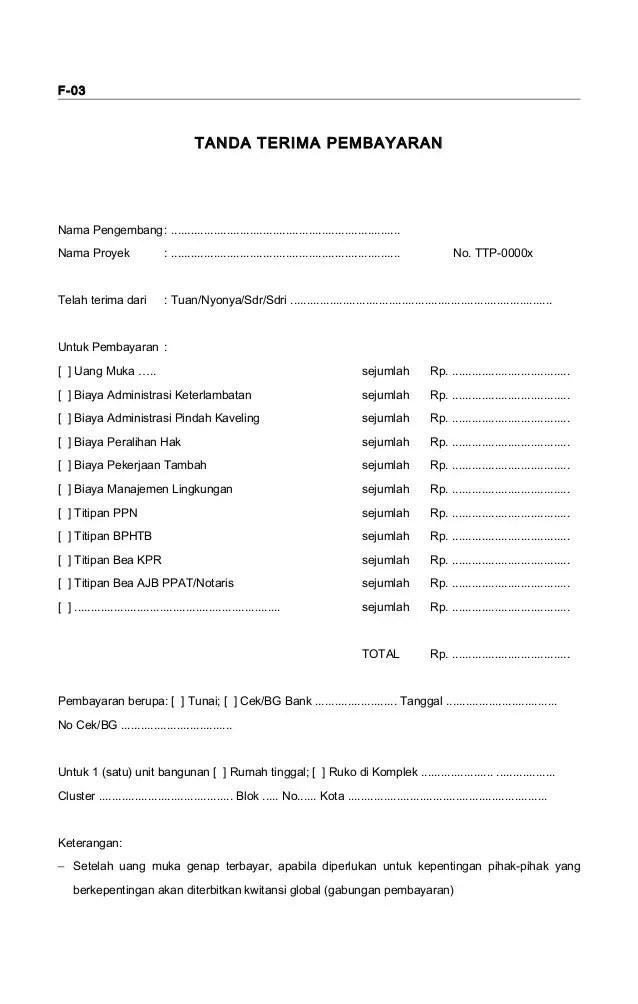 5. Contoh Surat Tanda Terima Uang Muka