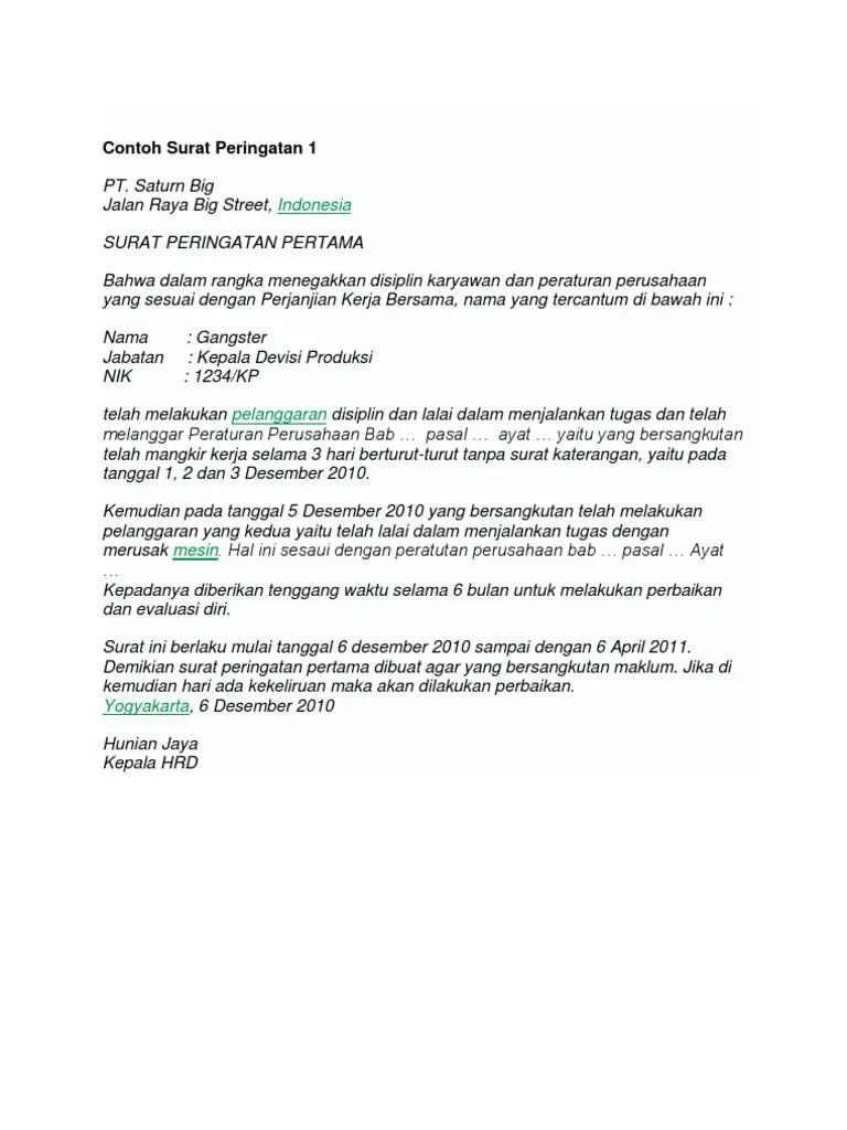 6. Contoh Surat Peringatan Kerja
