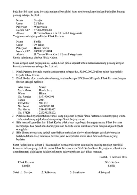 6. Contoh Surat Perjanjian Hutang Piutang