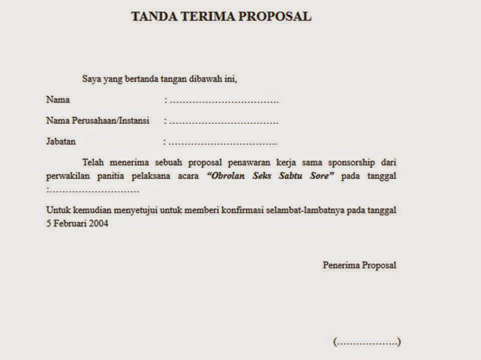 Contoh Tanda Terima Proposal 2018 November 2018
