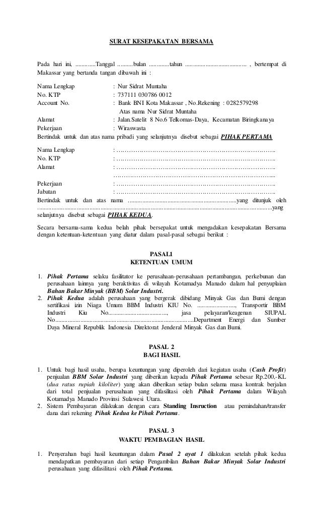 8. Contoh Surat Perjanjian Kesepakatan