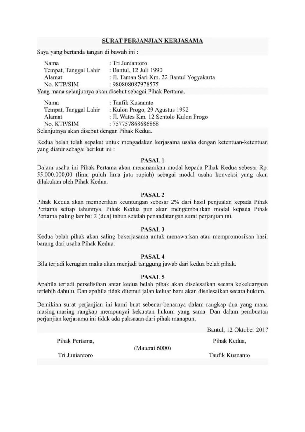 9. Contoh Surat Perjanjian Kerjasama Usaha 3 Orang