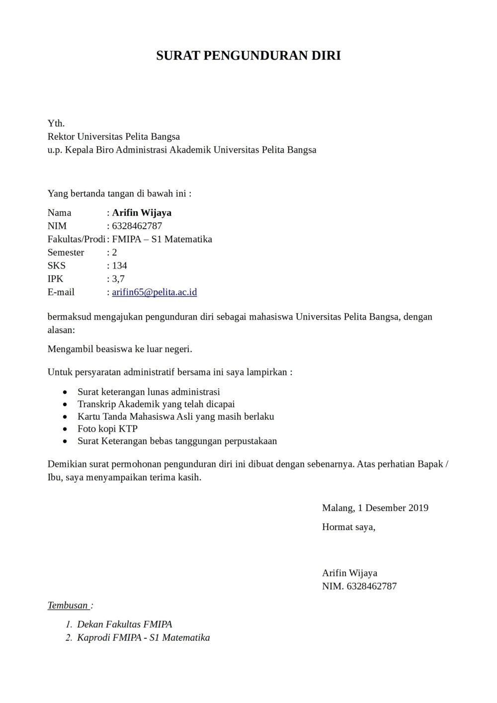 9. Contoh Surat Risent Kuliah