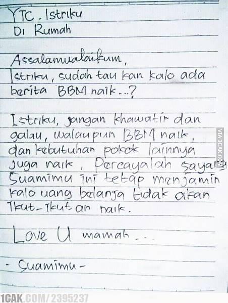 2. Contoh Surat Cinta Lucu Namun Romantis