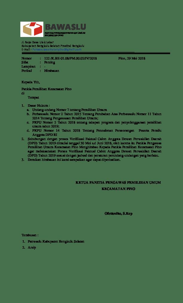 2. Contoh Surat Himbauan Panwaslu