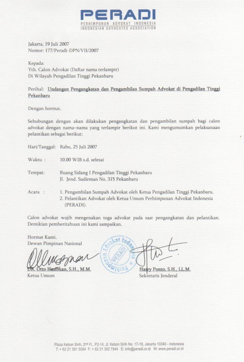 5. Contoh Surat Permohonan Magang Advokat Pengacara