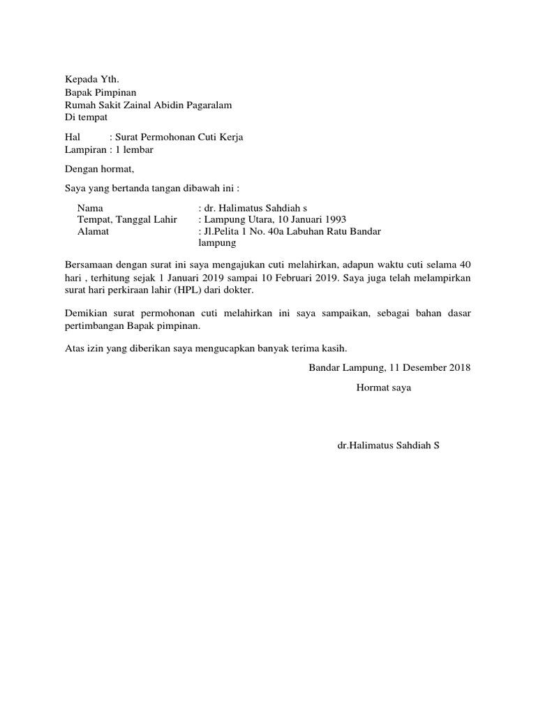 7. Contoh Surat Cuti Bersalin Karyawan