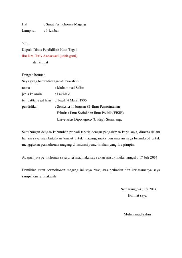 1. Contoh Surat Permohonan Magang Pribadi
