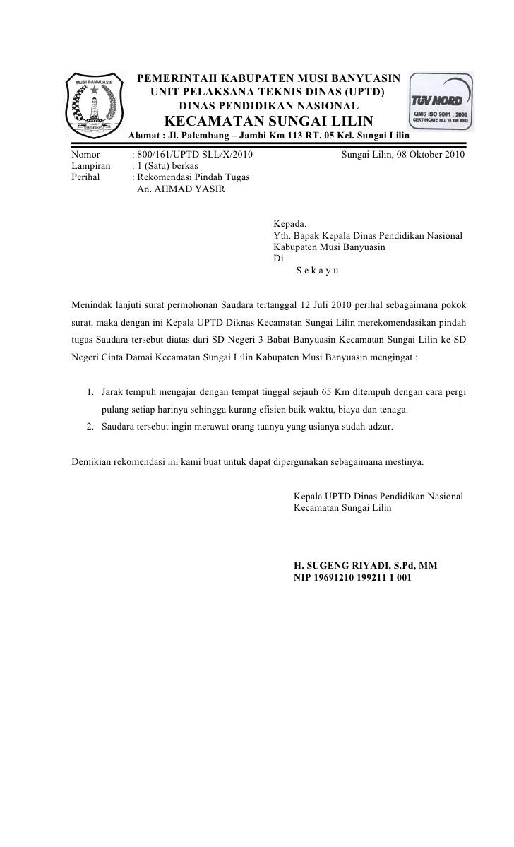 1. Contoh Surat Permohononan Rekomendasi Pindah Tugas