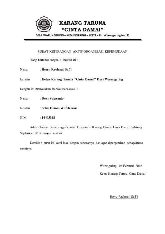 2. Contoh Surat Rekomendasi Kerja Dari Dosen