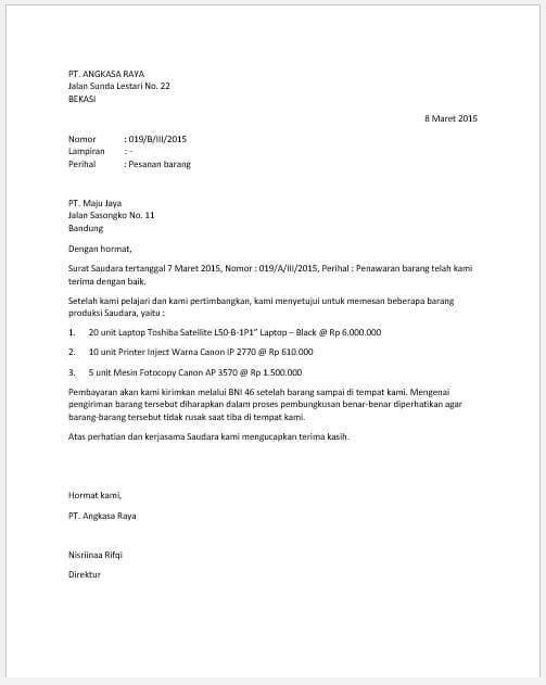 5. Contoh Surat Pesanan Bentuk Full Block Style