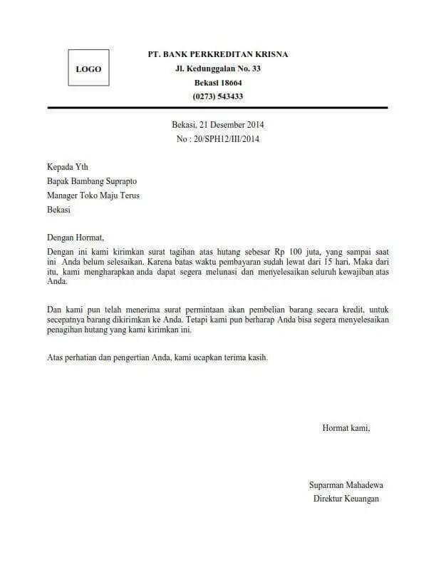 1.Contoh Surat Penagihan Hutang Koperasi