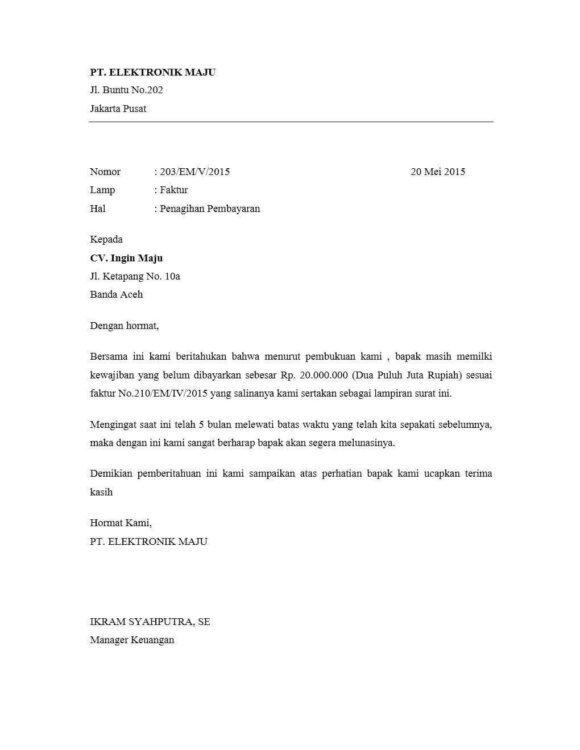 4. Contoh Surat Penagihan Hutang Resmi