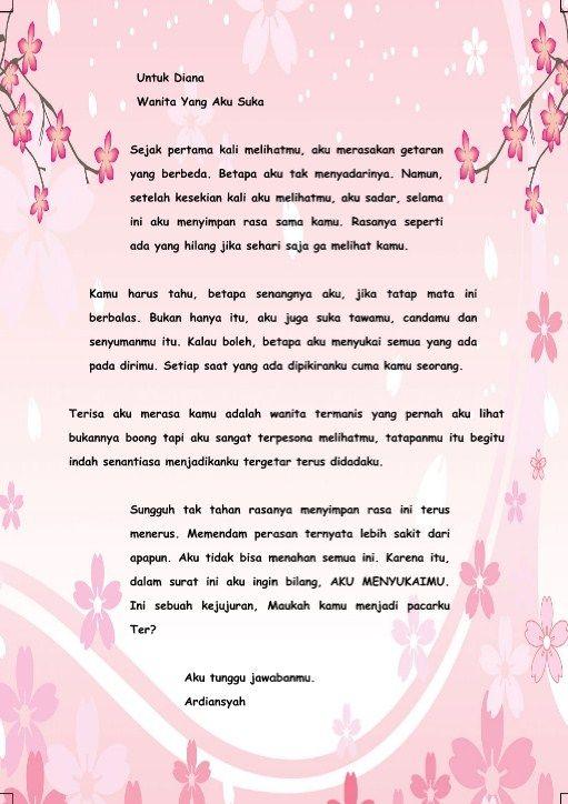 1. Contoh Surat Cinta Singkat Untuk Kekasih