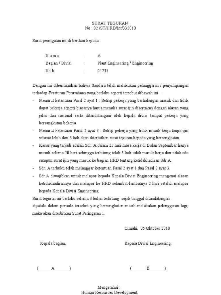 14. Contoh Surat Teguran Kepada Perusahaan Lain