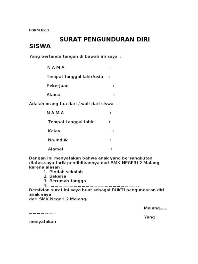 15. Contoh Surat Resign Dari Sekolah