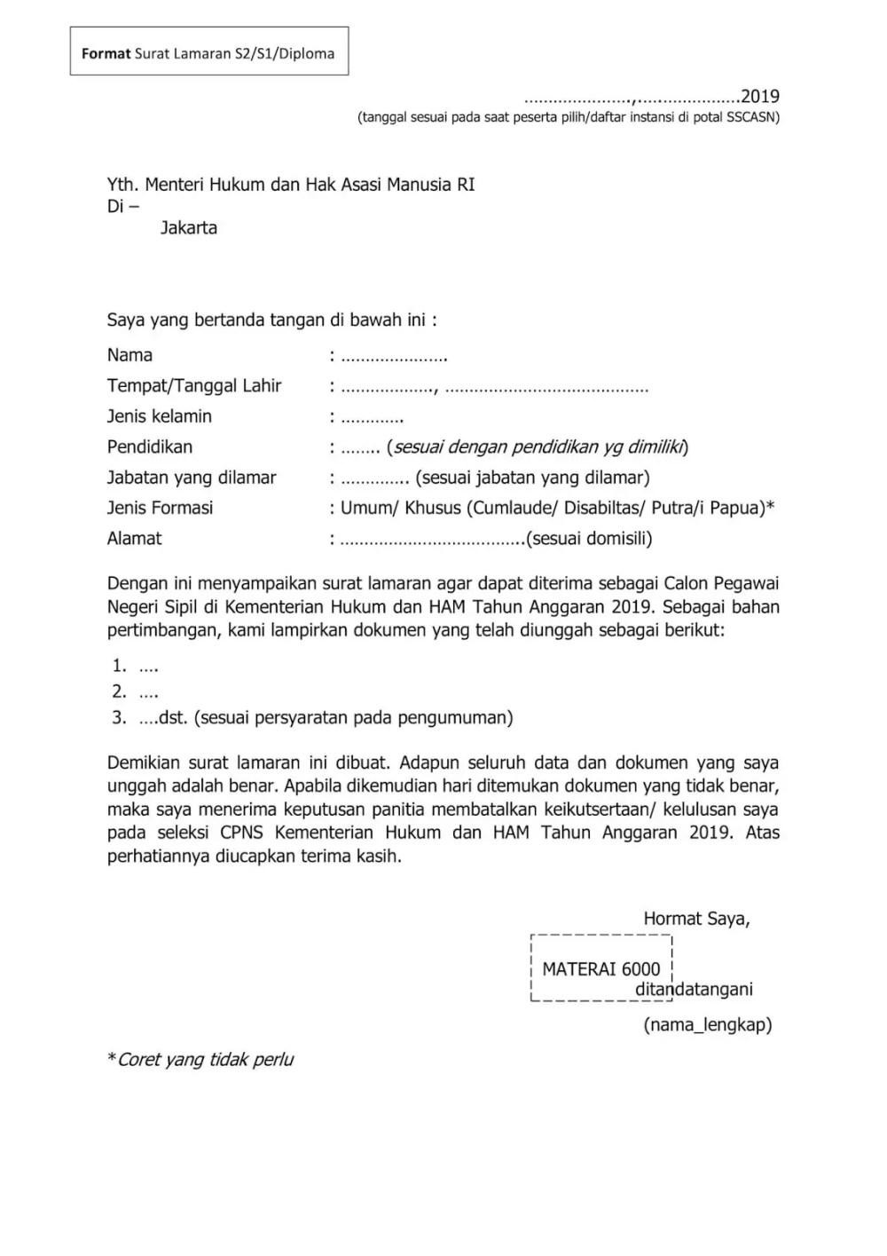 2. Contoh Surat Lamaran CPNS Sarjana