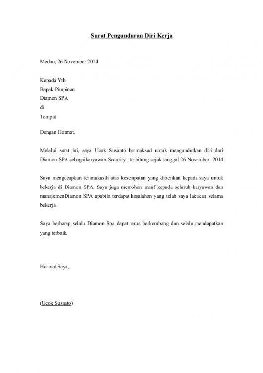 16 Contoh Surat Resign Kerja, Organisasi, Sekolah, DLL ...