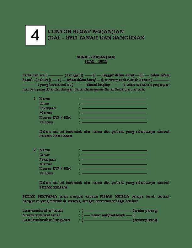 9. Contoh Surat Perjanjian Jual Beli Tanah Resmi