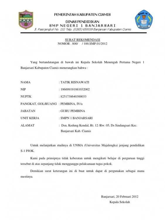 9. Contoh Surat Rekomendasi Beasiswa Dari Sekolah