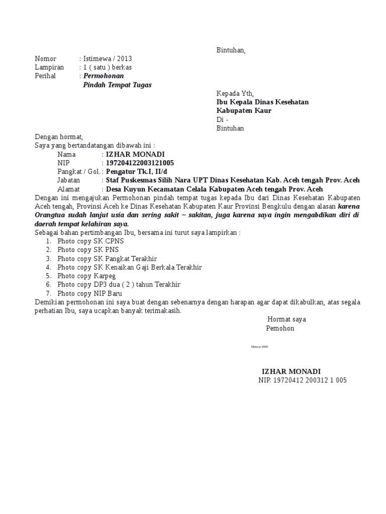 11. Contoh Surat Pengajuan Pindah Tugas