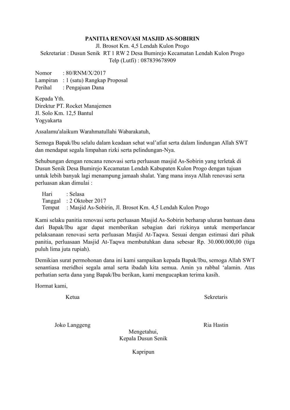 2. Contoh Surat Pengajuan Dana Operasional Perusahaan