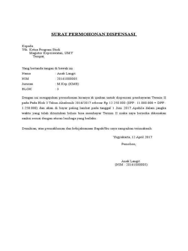3. Contoh Surat Dispensasi Pembayaran Kuliah