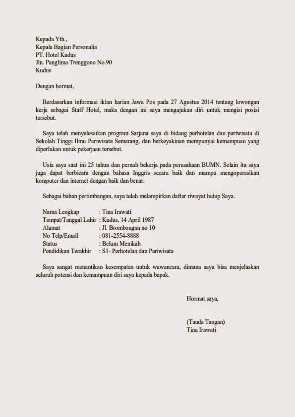1. Contoh Surat Lamaran Kerja Di Hotel Umum