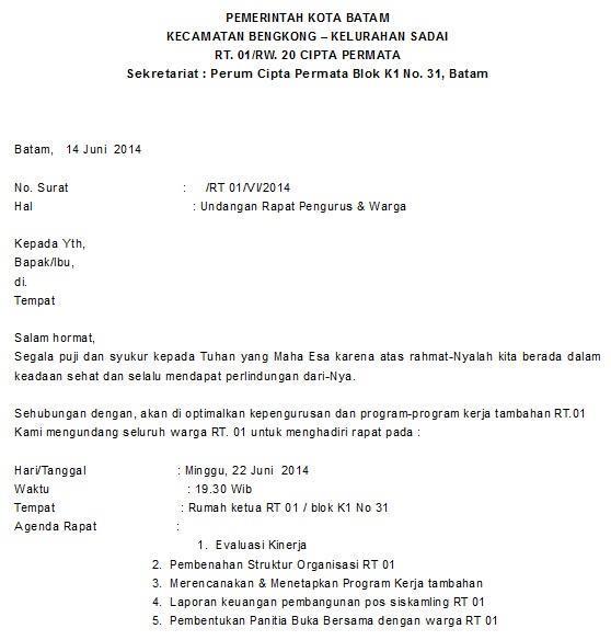 1. Contoh Surat Undangan Rapat Dalam Bahasa Inggris