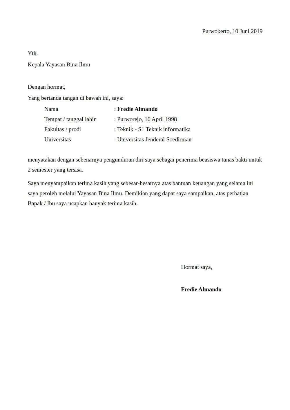 44++ Contoh surat pengunduran diri mahasiswa terbaru terbaik