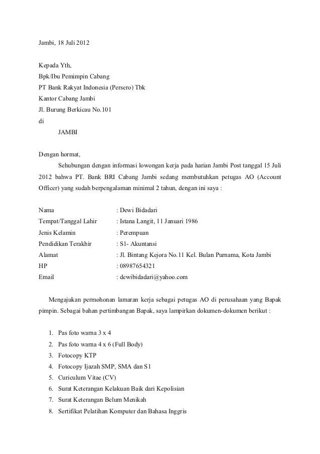 11. Contoh Surat Lamaran Kerja Di Bank Danamon
