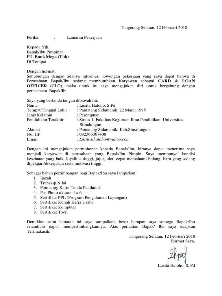 13. Contoh Surat Lamaran Kerja Di Bank Mega