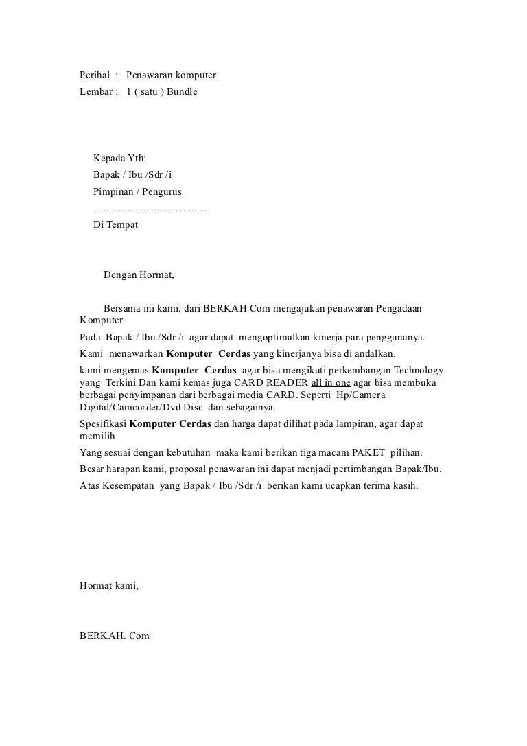 14. Contoh Surat Penawaran Barang Elektronik Komputer