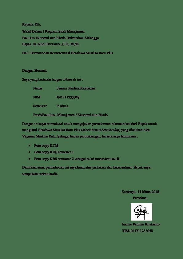14. Contoh Surat Permohonan Rekomendasi Beasiswa