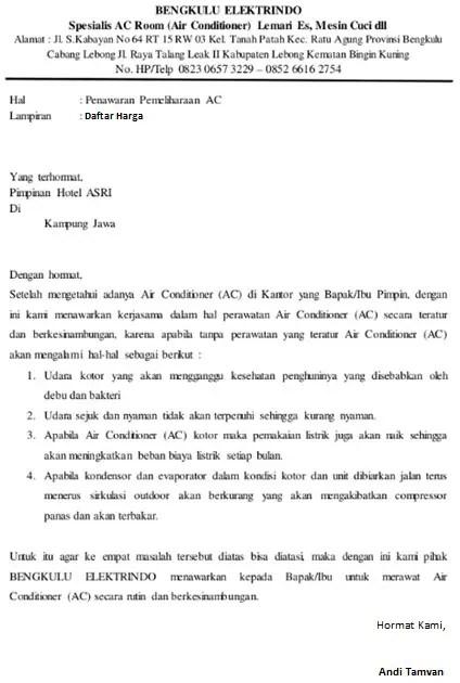 16 Contoh Surat Penawaran Jasa Service Konstruksi Dll Contoh Surat