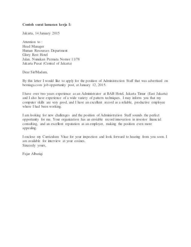 2. Contoh Surat Lamaran Kerja Di Hotel Dalam Bahasa Inggris