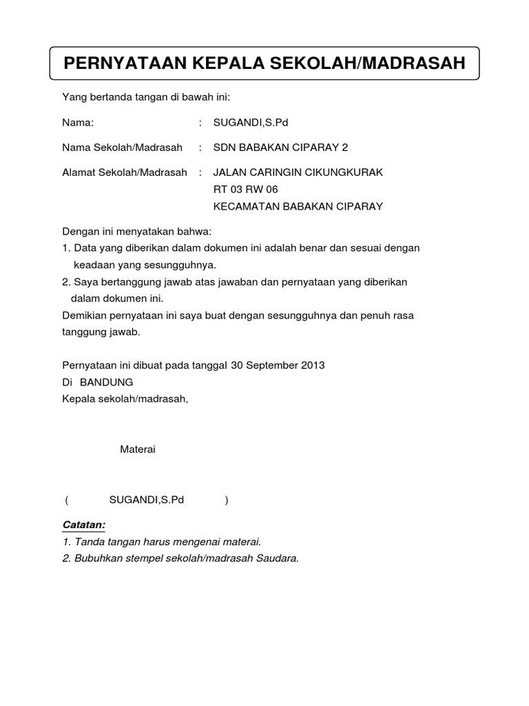 16 Contoh Surat Pernyataan Sekolah Paling Lengkap Contoh Surat