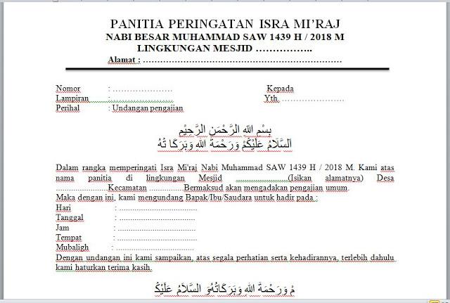 2. Contoh Surat Undangan Pengajian Umum